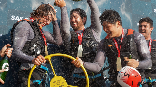 Japan SailGP Team celebrate winning the New York SailGP event