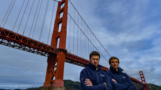 Rome Kirby and Mac Agnese in front of San Francisco's iconic Golden Gate Bridge