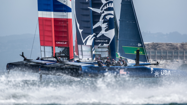 The USA SailGP Team getting ready to compete at New York SailGP
