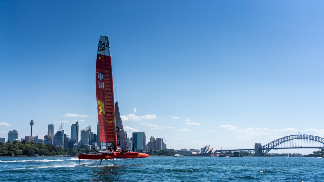 The China SailGP Team F50 takes flight in Sydney
